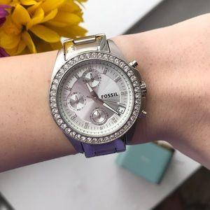Women's Crystal Fossil Watch - Very Gently Worn!